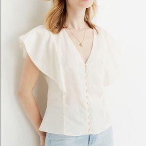 Petite Linen Carmelina Flutter-Sleeve Top
